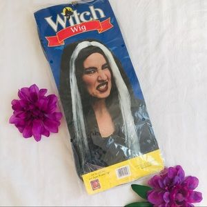Vintage witch Halloween costume long black wig